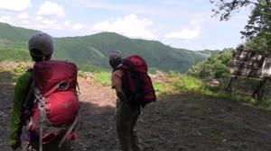 沢沿いの道から尾根道に変わり視界が一気に開け、三室山などの平井川北尾根が見渡せる。