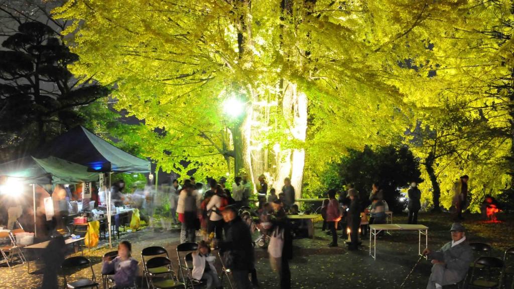 天正寺の境内には暖かいトン汁のサービスがあり、ライトアップされた大銀杏の下で雅楽の演奏にタイムスリップを思わせていました。