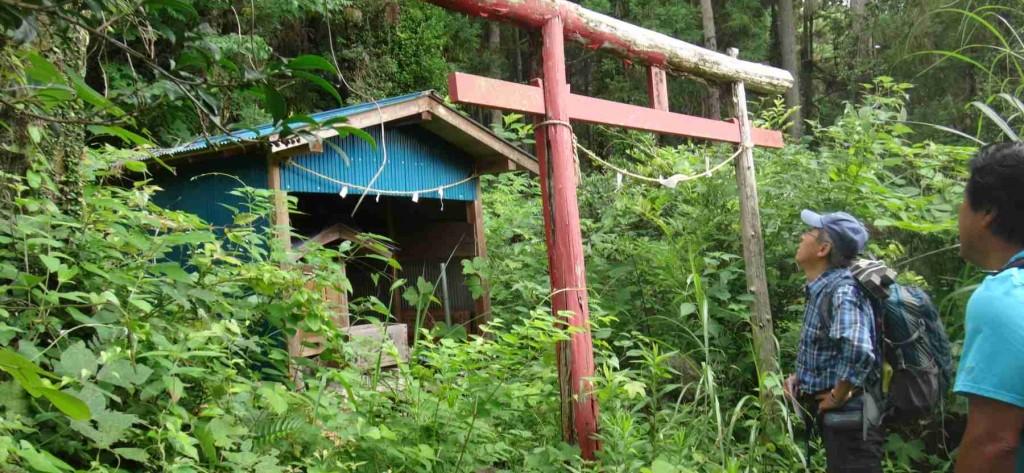 新井地区を見渡せる山の中腹にある向山稲荷の祠。ここから早道場(はやみちっぱ)と呼ばれる尾根をとおり、勝峰山へ向けて尾根歩きとなります。