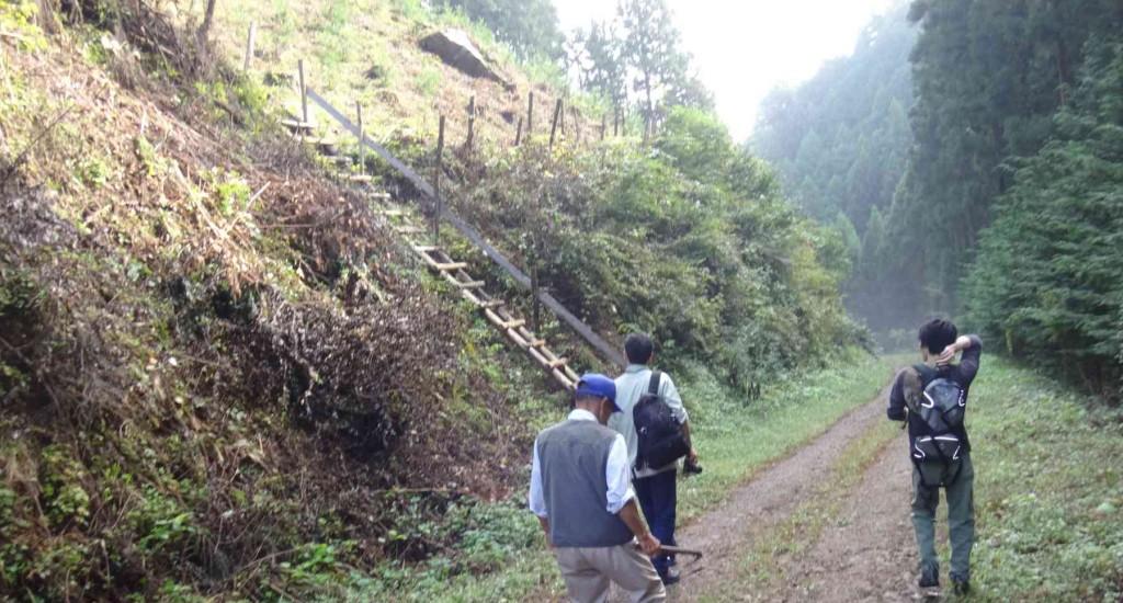 尾根への取り付き点の梯子へ向かう。この梯子はあくまでも植林作業のための作業用であり、安全策はしていない。その上の道も林務者の踏み跡程度で道標などは無い。整備されるまでは、この付近に詳しい熟達者以外は入山禁止だ。