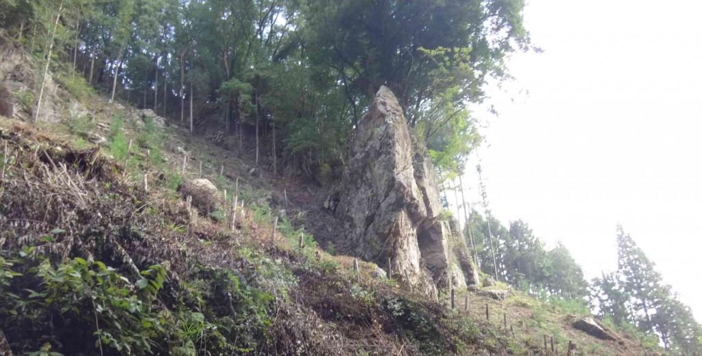 見上げる大岩の周辺は草が刈り取られ、8月初めの入山時より整備されていた。