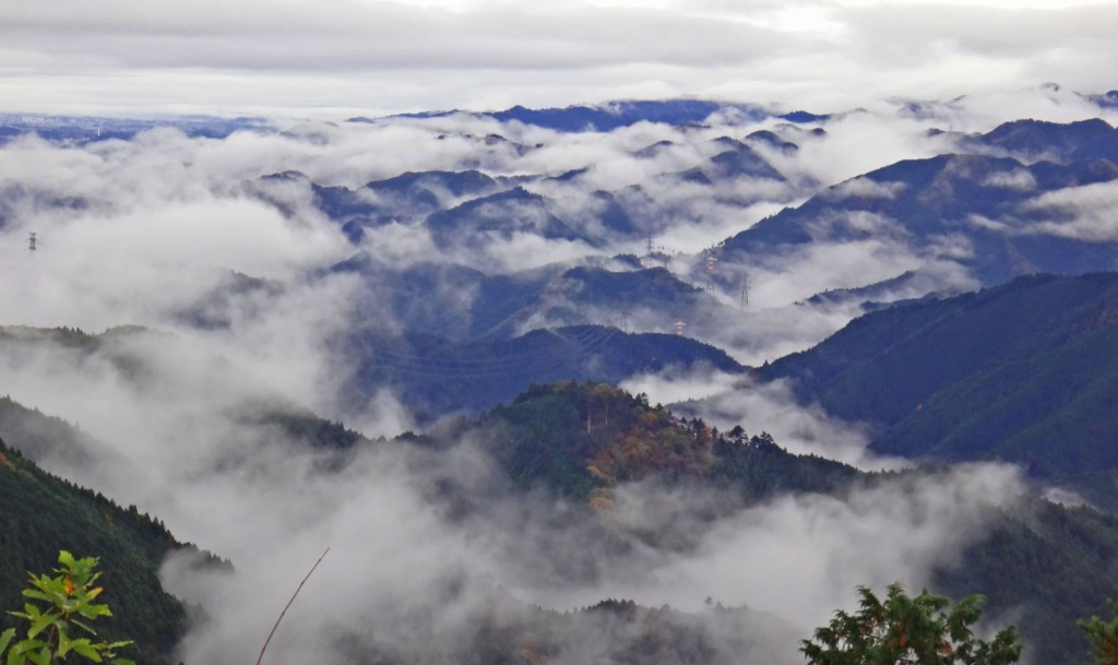 霧が残る日の出山山系は、晴れた日と一味違う幽玄な山容を見せたくれました。