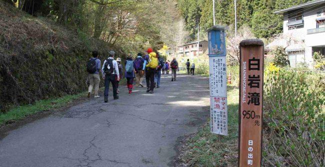 恒例の山開き記念登山は、今年も白岩の滝登山口から入山しました。