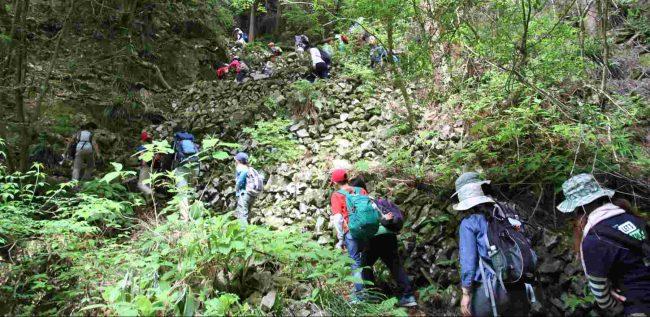 滝に沿って上る道が最初の急登で、石積みで作られたジグザク道を一気に登る。