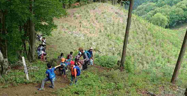 急登のため先頭と後続の距離が開く。あとひと踏ん張りで麻生山の山頂だ。